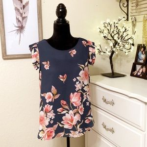 Nordstrom Sweet Rain Floral Tunic Top Flutter